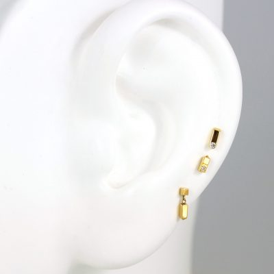 Minimalist 18k Yellow Gold Set of Studs