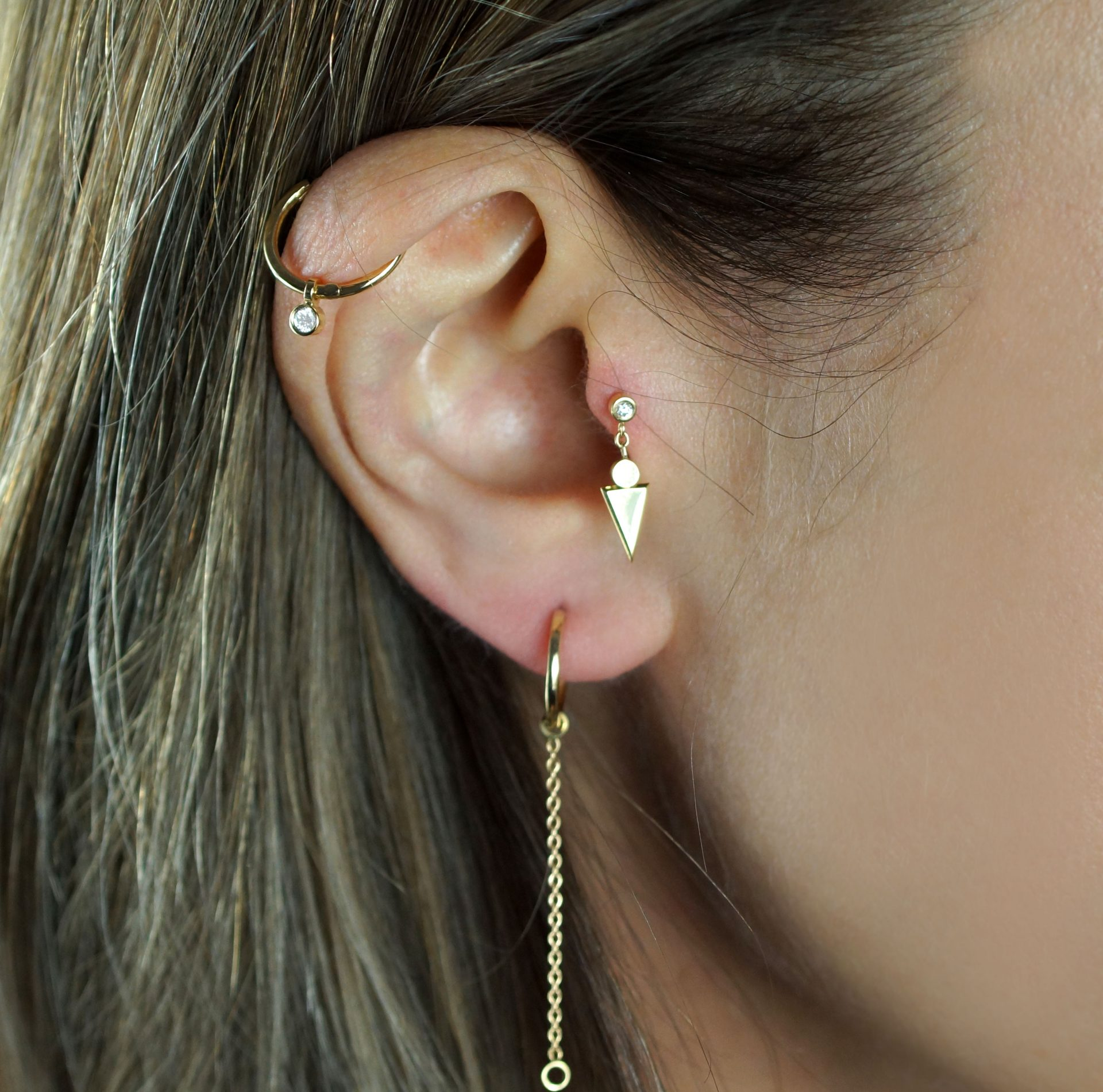18k gold cartilage earrings hoops