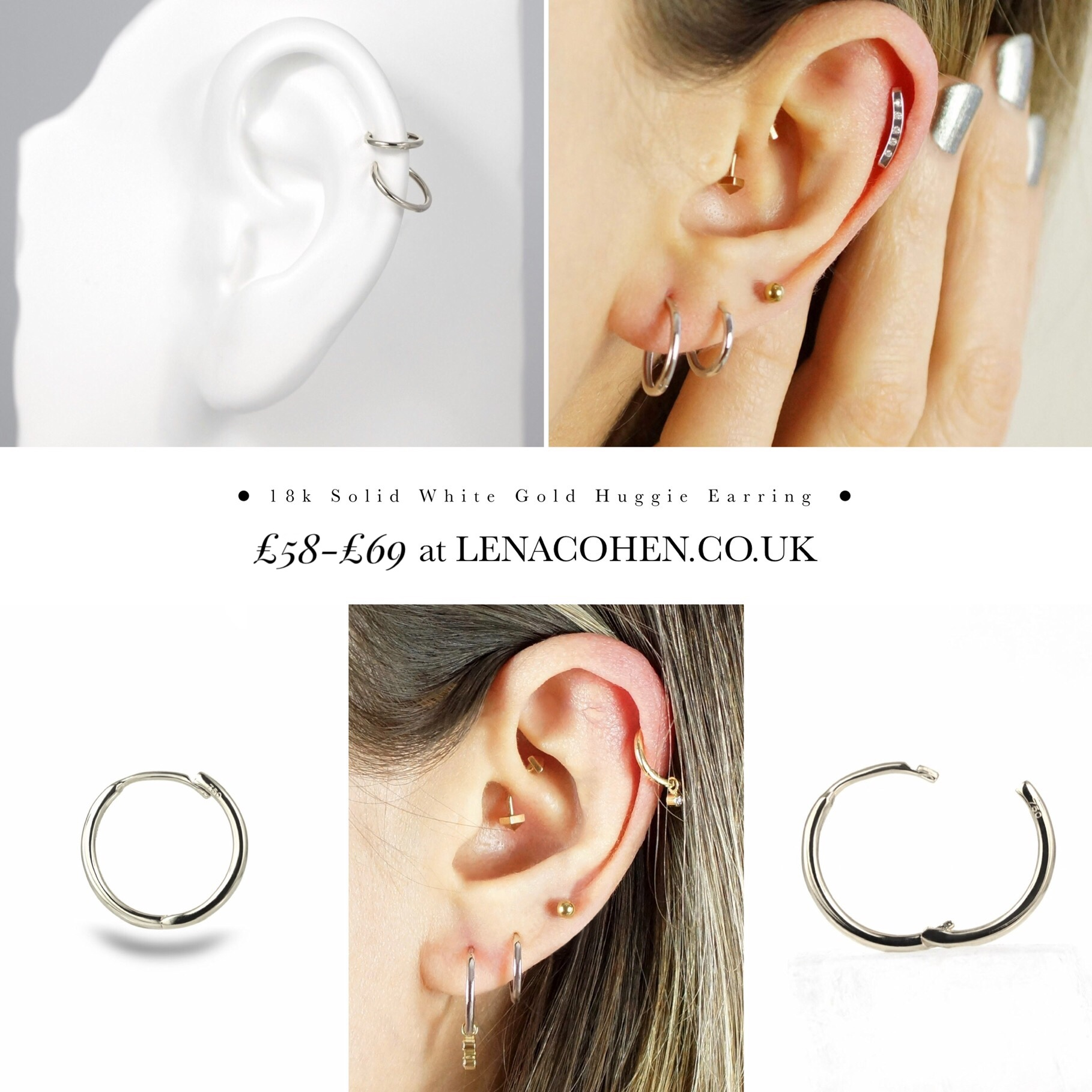 Latest ear piercings for women beautiful and cute ideas, helix, cartilage, diamond piercings, 18k gold, simple & stylish, multiple earrings, ear styling..  Lena Cohen Luxury Piercing Jewellery London