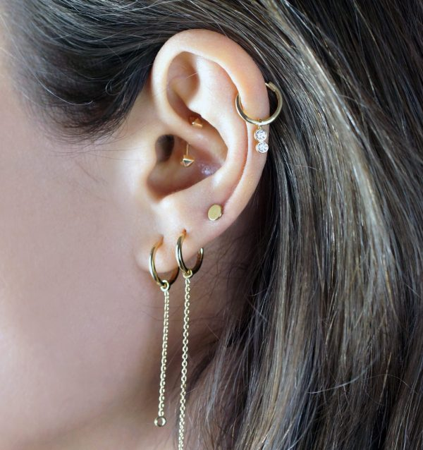 Lena Cohen Double Jump 'add ons' are made from 18k yellow gold fine chain. Our Double jump 'add ons' are designed to fit onto our huggie hoops and studs