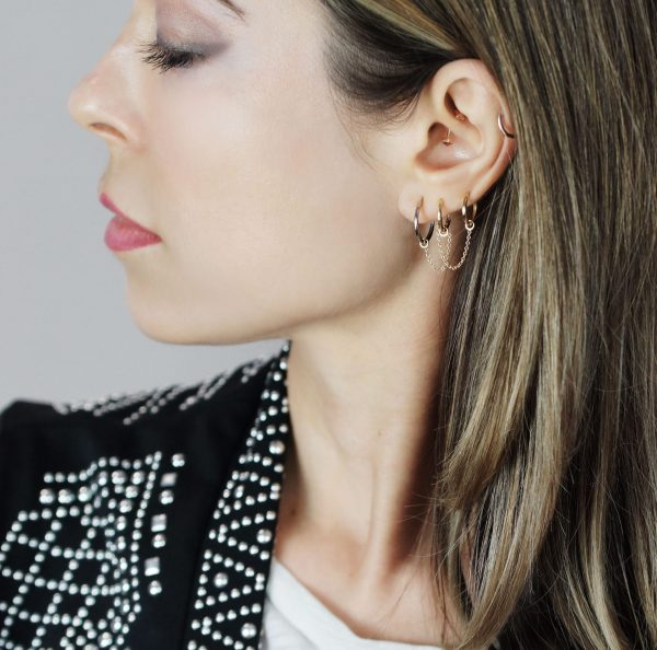 Lena Cohen Luxury Piercing Jewellery effortlessly styled stacked and layered as you please diamond screw back studs helix huggie chain