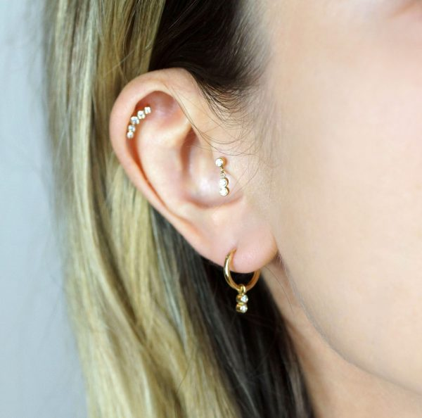 18k gold cartilage earrings hoops huggies lena cohen fine jewellery