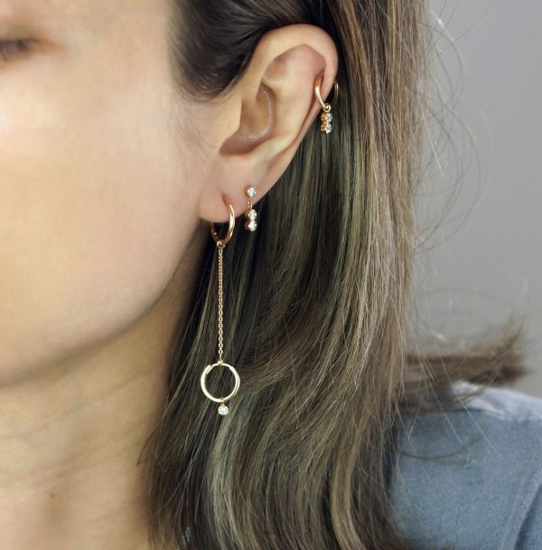 Designer cartilage studs and huggie hoop earrings give you an unlimited source for piercing combinations! They look more cool with short hair and updo rather than large statement pieces. Layer it, Stack it, Style it!