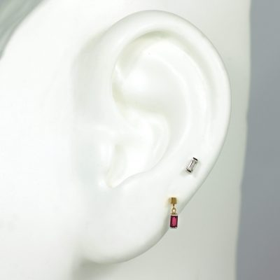 Diamond and Ruby Baguette Shaped Studs Set