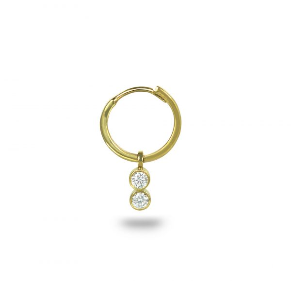 18karat yellow solid gold huggie hoop earring featuring a two solitaire natural diamonds, side facing charm to maximise it's exceptional beauty when worn in the Helix position