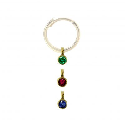 18k Yellow Gold Color Gemstone Helix Charm