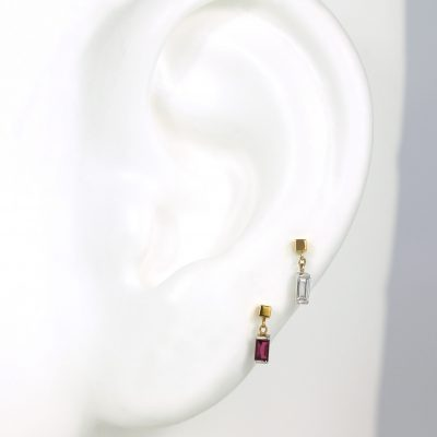 Diamond Ruby Baguette Shaped Piercing Studs Set