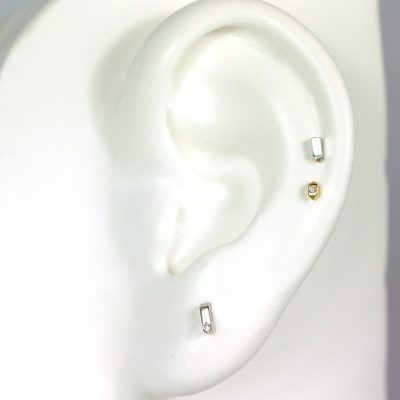 18k Yellow White Gold Bar Studs Set