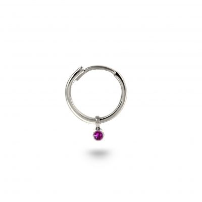 18k White Gold Ruby Charm Helix Hoop Earring