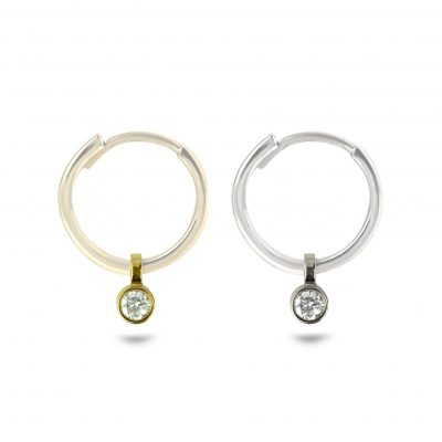 18k Gold Single Diamond Helix Charm
