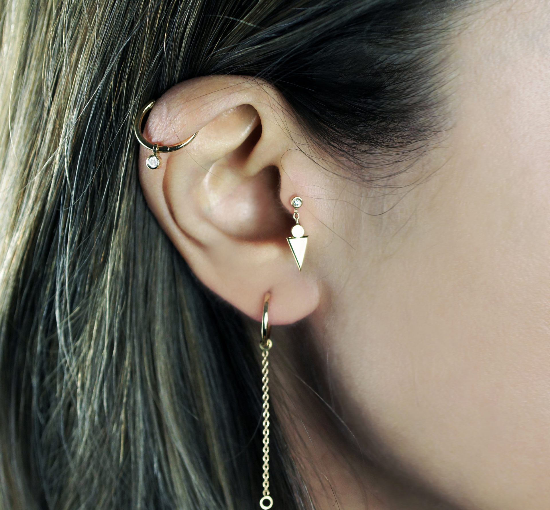 "Art Deco geometric stud team it up with our Double Jump ""add ons"" to create curated ear"