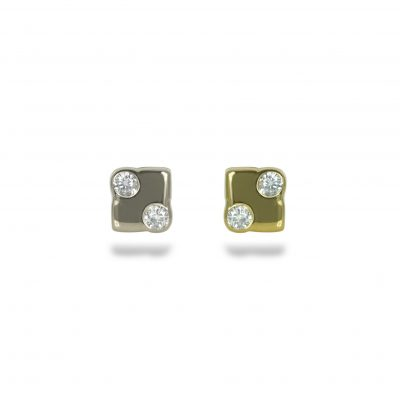 18k Gold Abstract Cube Unisex Diamond Stud