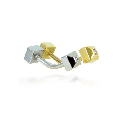 18k Gold Diamond Unisex Piercing Barbell