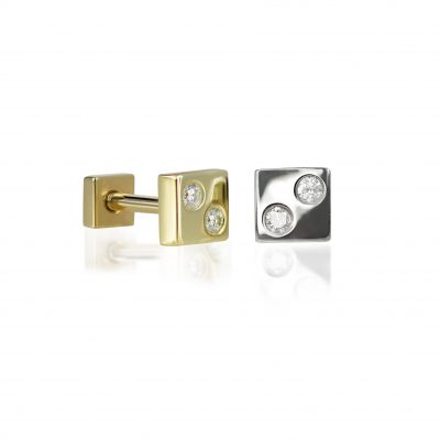 18k Gold Dice Unisex Diamond Stud