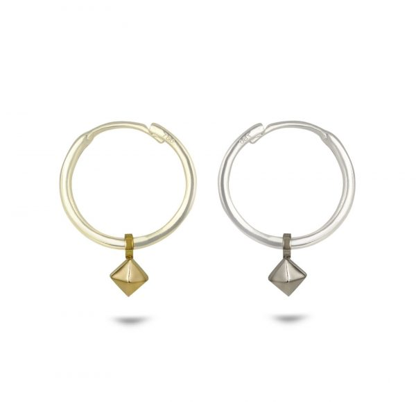 luxury cartilage huggie hoop earrings 18k solid gold pyramid charms Lena Cohen London