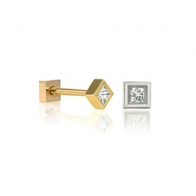 18k Gold Perfect Square Unisex Diamond Stud