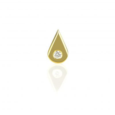 18k Gold Teardrop Diamond Piercing Earring