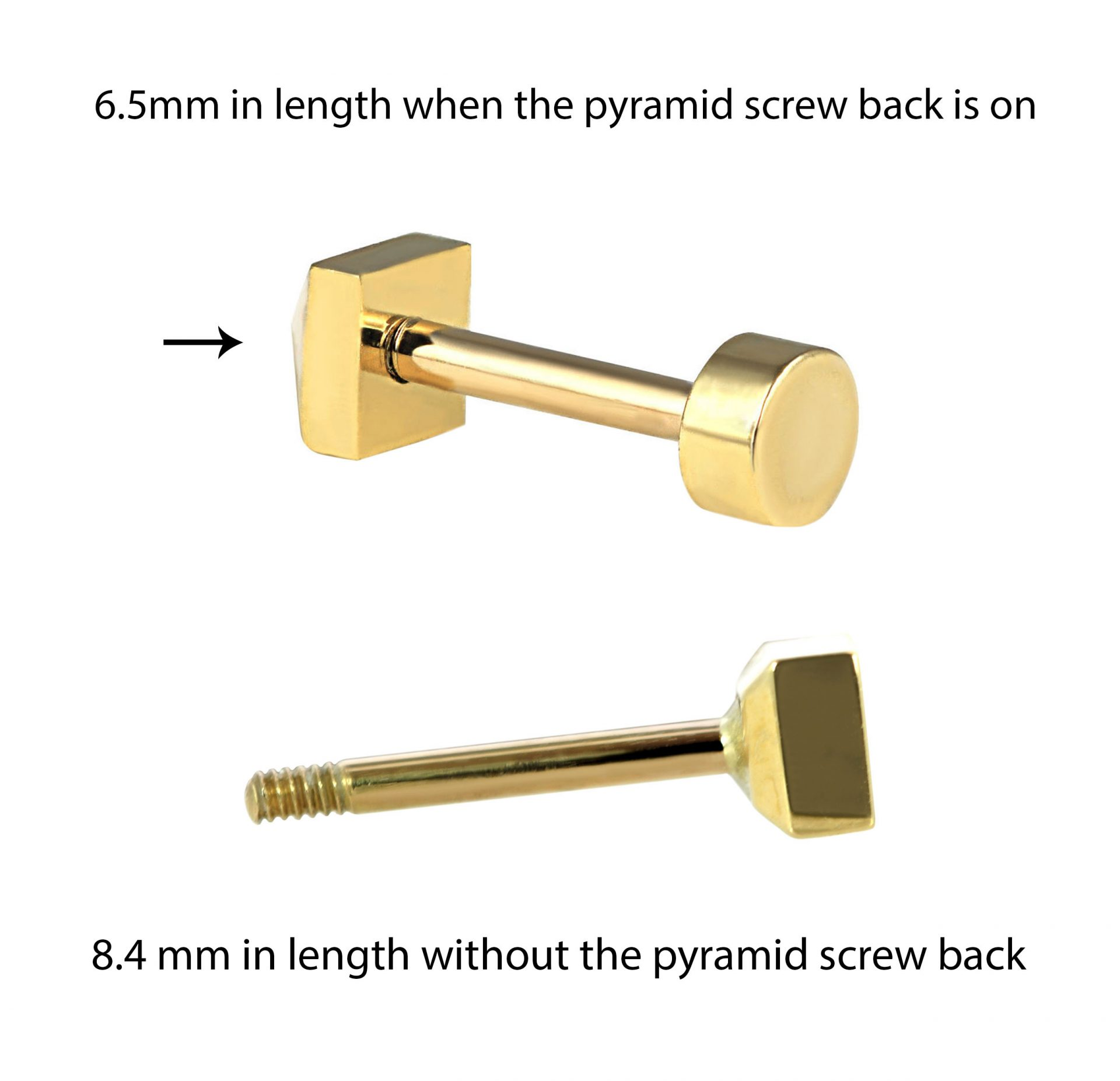 Customise your piercing barbell length