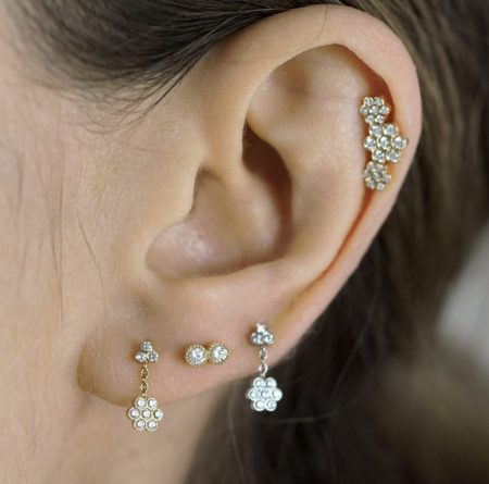 Milgrain Duo Diamond 18k Gold Piercing Stud