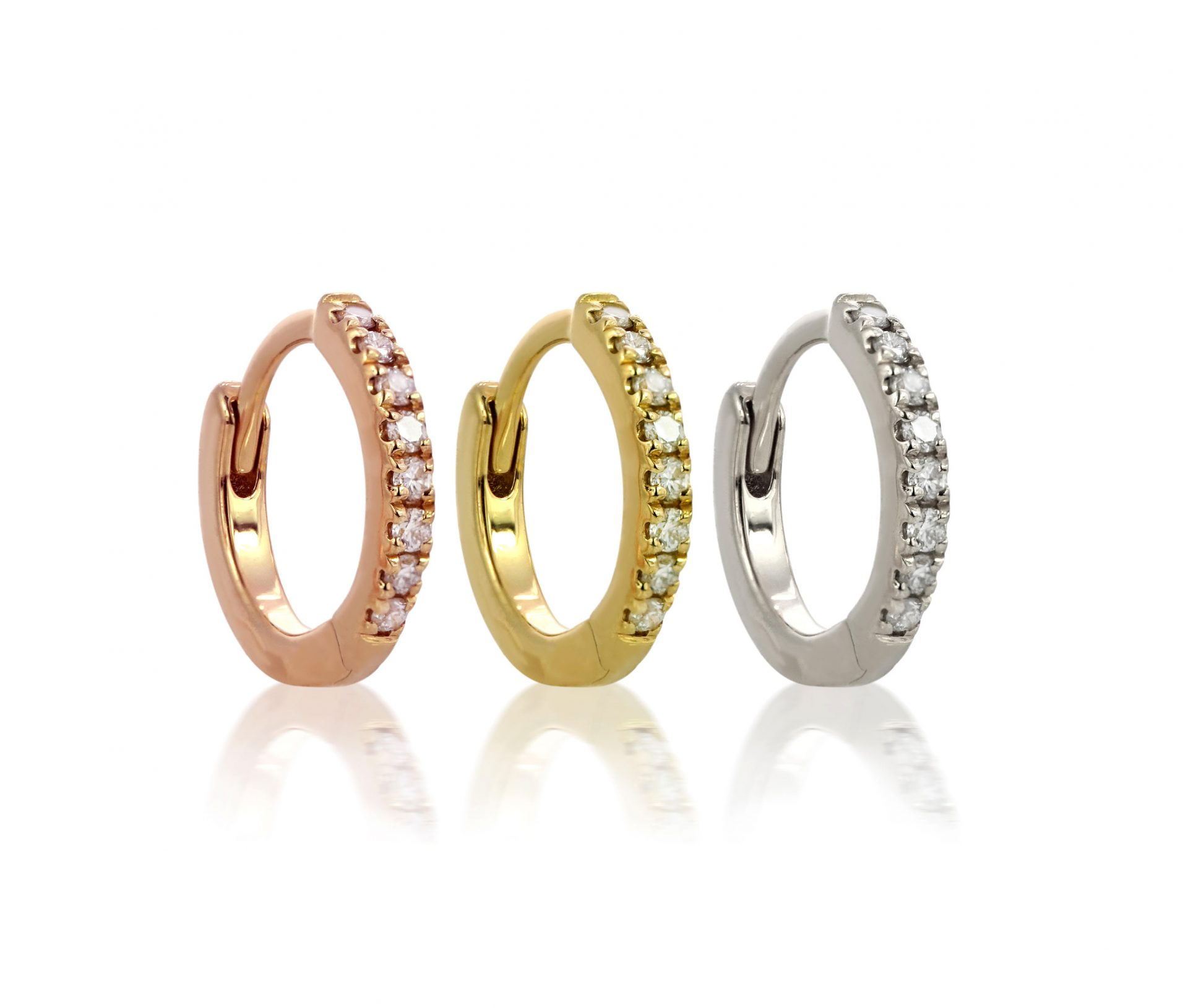 18k-rose-yellow-white-gold-diamond-huggie-hoop-clickers-lena-cohen