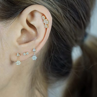 Three-Flower-Garland-Helix-Diamond-Stud-Earring-Lena-Cohen-Luxury-Piercing-Jewelry-UK