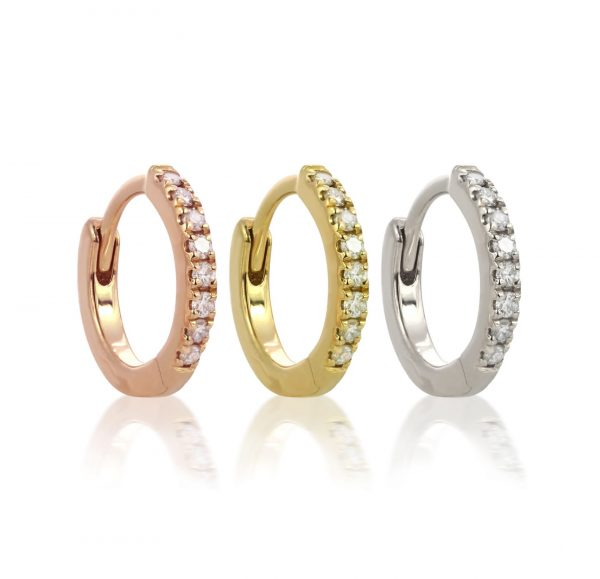 lena cohen luxury piercings london 18k rose yellow white gold diamond huggie hoop earrings