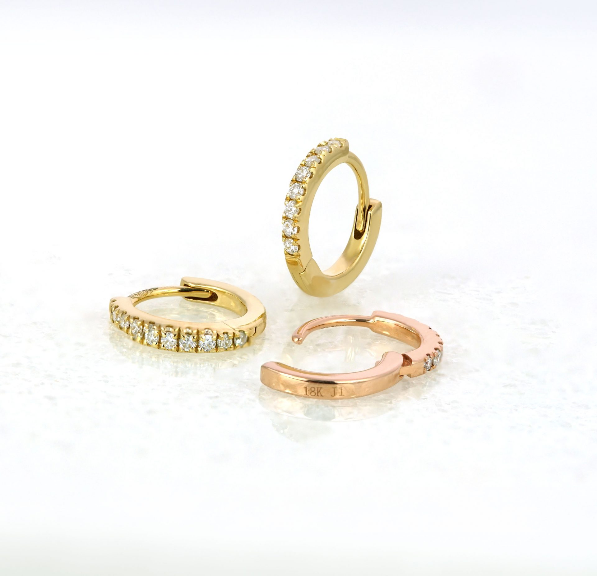 lena-cohen-luxury-piercings-london-18k-rose-yellow-white-solid-gold-natural-diamond-huggie-hoop-earrings