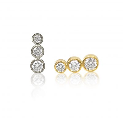 Tres Campanas 18k Gold Diamond Stud