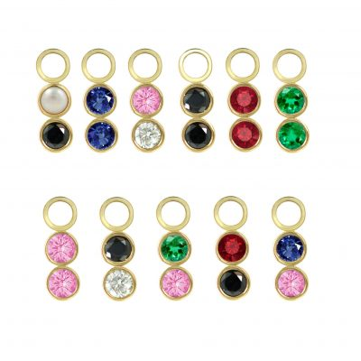 18k Yellow Gold Duo Gemstone Charm