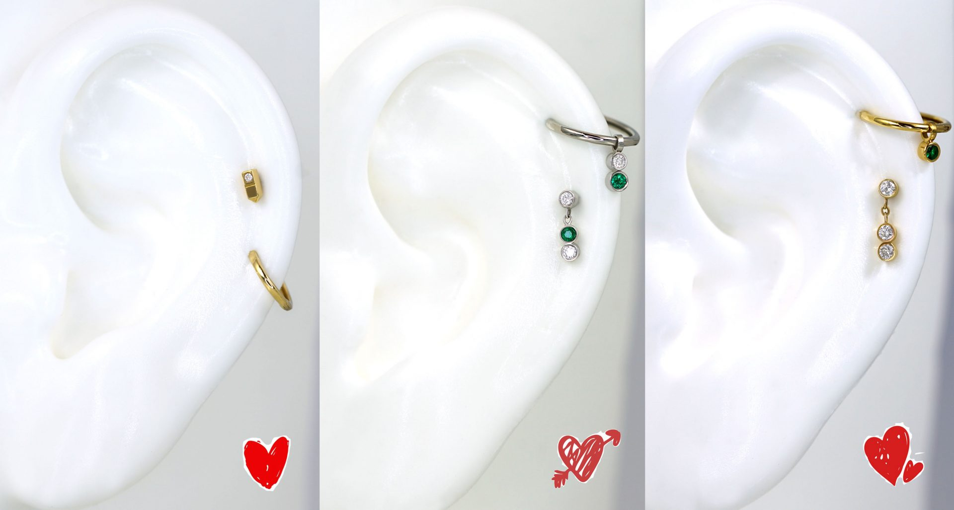 Valentines Day Gift for Her. Luxury Piercing Earrings Set Price. Lena Cohen.