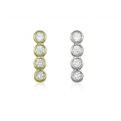 Four Diamond Line 18k Gold Cartilage Stud