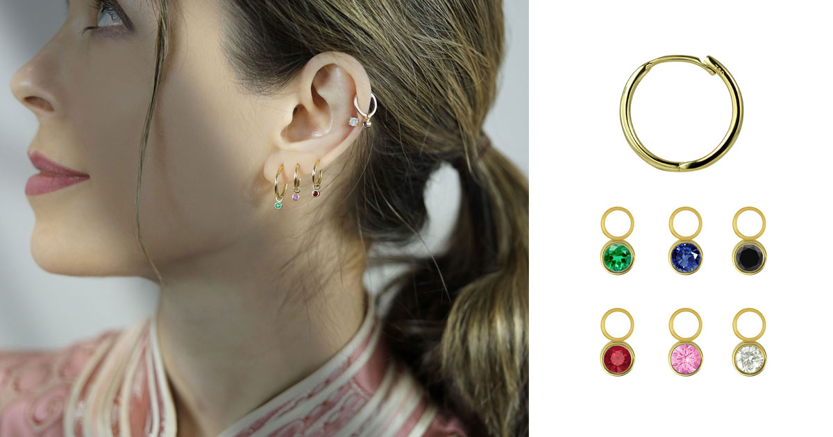 Brilliant Cut Emerald, Ruby, Sapphire Charms For Huggie Hoops.